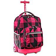 Универсальный школьный рюкзак на колесах JWORLD Sunrise Малиновые Квадраты
